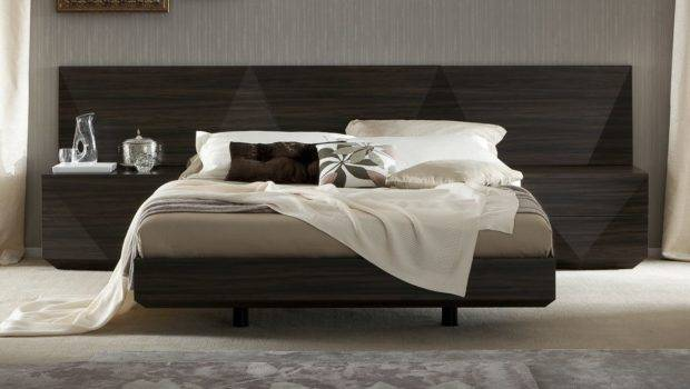 Made Italy Wood Luxury Platform Bed Two Tone Headboard