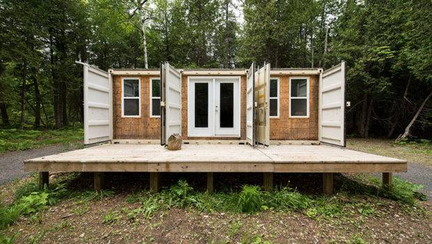 Man Behind Off Grid Shipping Container Cabin