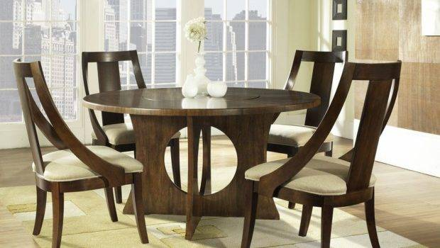 Manhattan Piece Inch Round Dining Room Set Walnut Medium Wood