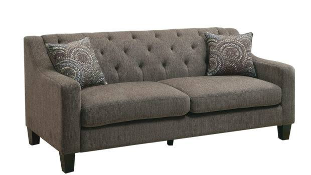 Marlene Contemporary Style Mocha Chenille Fabric Sofa Couch