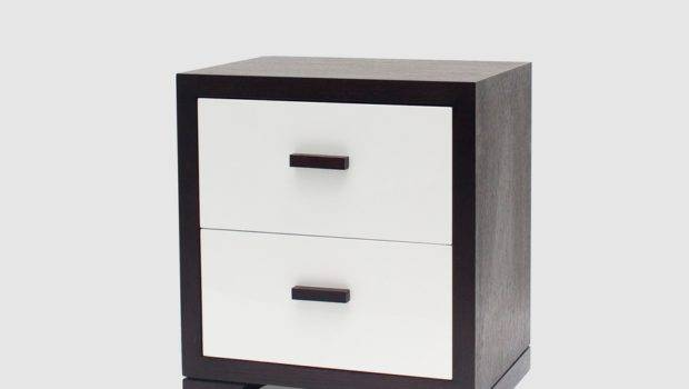 Marly Wenge Oak White High Gloss Bedside Table Tables