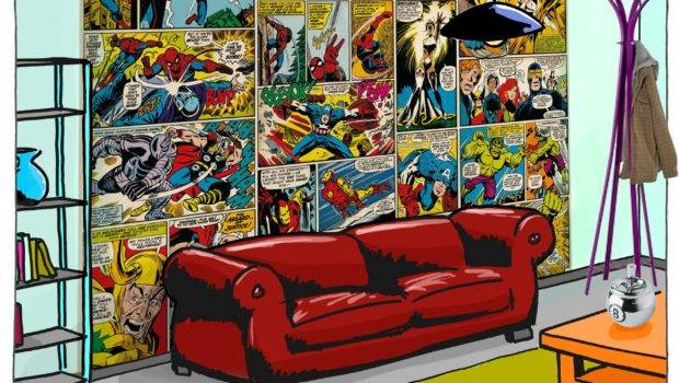 Marvel Comic Heroes Wall Mural Hulk Spiderman Avengers