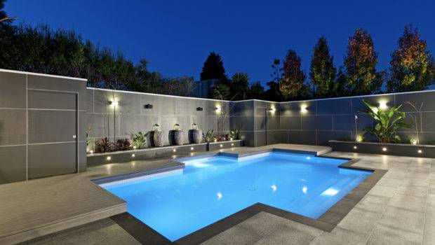 Marvelous Lighting Swimming Pool Designs Grey Fence