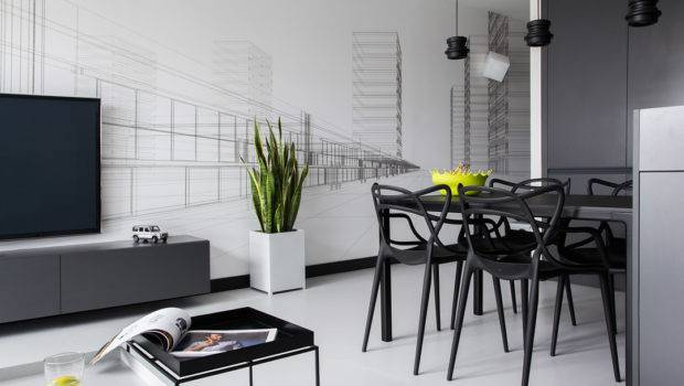 Masculine Black White Apartment Spiced Colorful Details