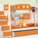 Maximize Storage Space Small Bedroom White Orange Bunk