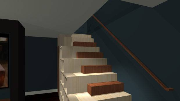 Media Room Stair Bookcase Modern Home