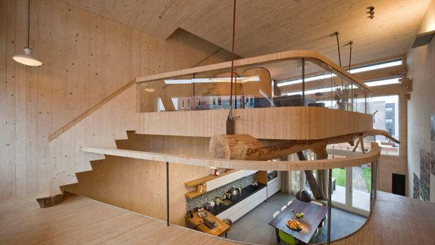 Mezzanine Wooden Interior Eco Friendly House Amsterdam
