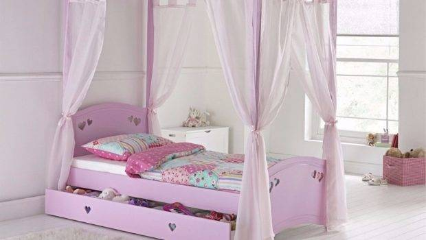 Mia Single Poster Bed Frame Pink Display Aston