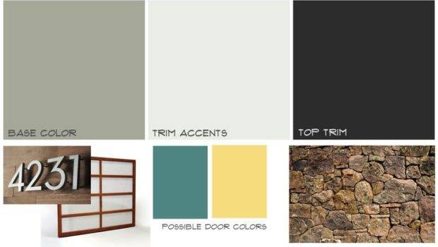Mid Century Home Exterior Mood Board Midcentury Paint Colorswatches