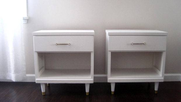 Mid Century Modern White Nightstand Side Tables Rhanvintage
