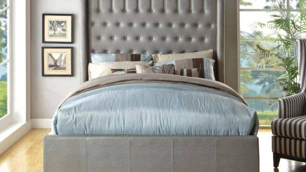 Mira High Headboard Silver Leather Bed