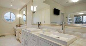 Mirror Silver Framed Combine White Bathroom Cabinet Vanities