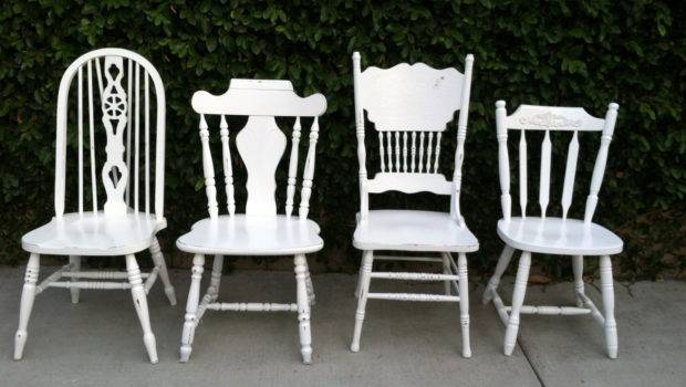 Mismatched Dining Chairs Set White Shabby