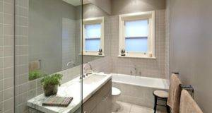 Modern Bathroom Design Recessed Bath Using Frameless Glass