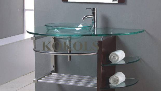 Modern Bathroom Glass Bowl Clear Vessel Sink Wood Vanity