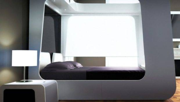 Modern Canopy Bed Elegant Bedroom Futuristic