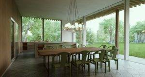 Modern Cottage Outdoor Dining Space Chairs Pendant Lamp Olpos Design