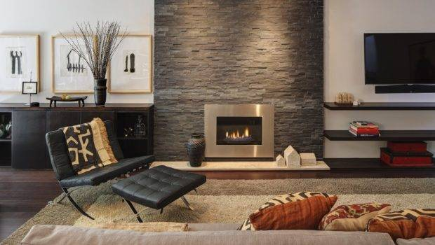 Modern Fireplace Stone Wall Chair Sofa Home Renovation Madison