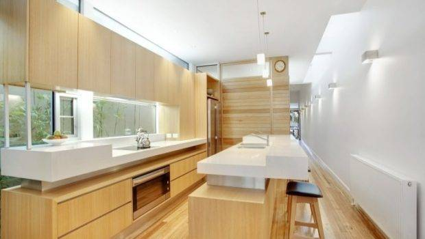 Modern Galley Kitchen Design Using Hardwood