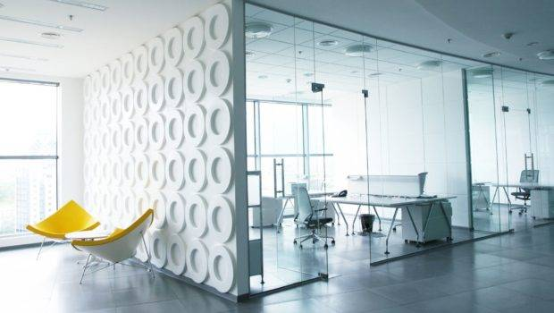 Modern Office Contemporary Interior Thick Glass Panel