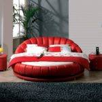 Modern Round Beds Red White Colors