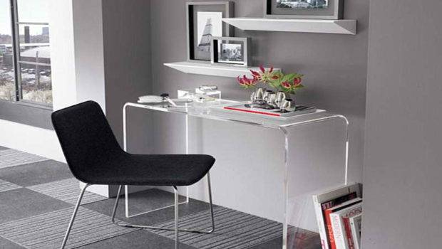 Modern Small Desk Spaces Grey Rug