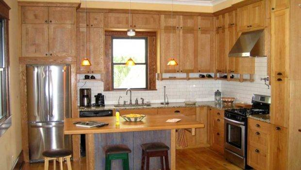 Modern Small Shaped Kitchen Designs Brown Wood