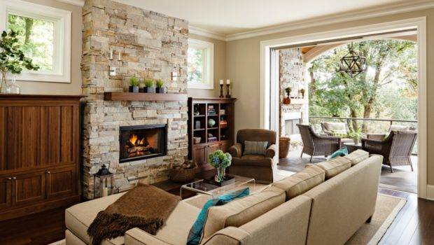Modern Stone Fireplace Design Ideas Cream Living Room