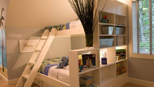 Modern White Blue Kids Room Custom Bunk Beds