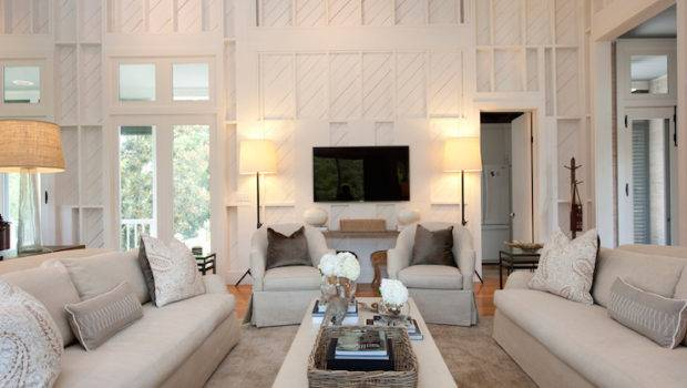Monochromatic Living Room Transitional Summer House