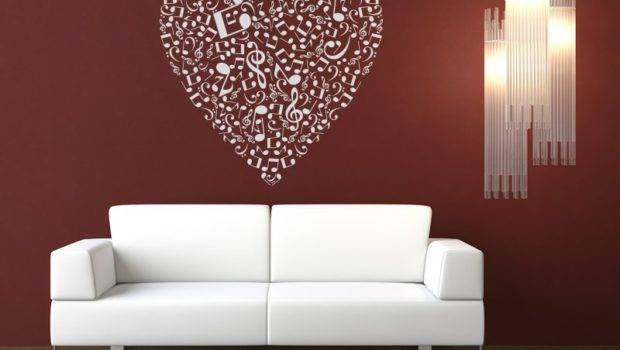 Musical Heart Music Notes Wall Stickers Art Decal Transfers