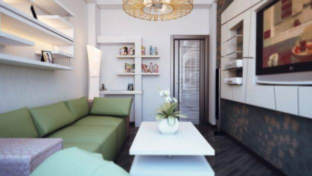 Narrow Living Room Furnished Provide Every Bit Storage