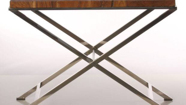 Narrow Side Table Chrome Legs Reclaimed Wood Baredecor