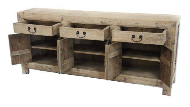 Natural Reclaimed Wood Media Console Cabinet Sideboard Buffet Terra
