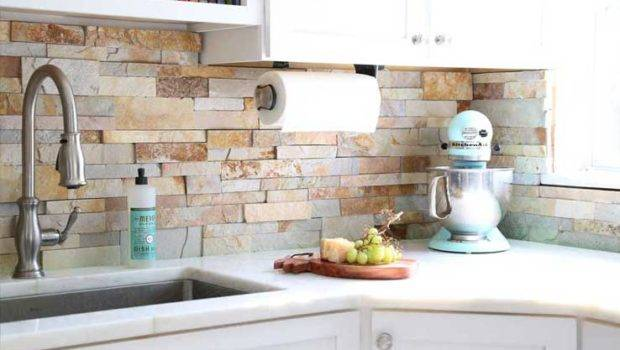 Natural Stacked Stone Backsplash Tiles Kitchens