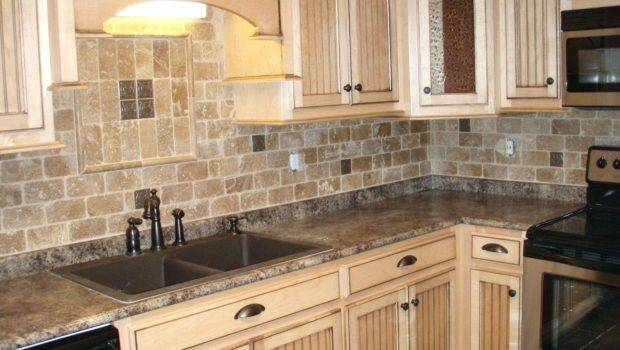 Natural Stone Subway Tile Backsplash Kitchen Contemporary