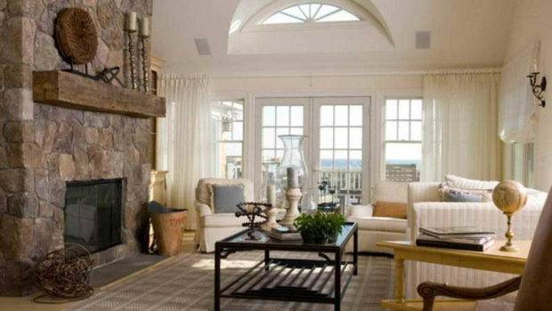 Neutral Colored Living Rooms Stone Fireplace
