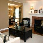 Neutral Living Room Red Brick Fireplace