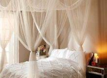 New Elegant Post Bed Sheer Laced Canopy Curatin