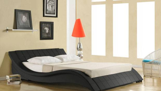 New Luxury Cool Faux Leather Low Designer Bed Double King Black