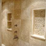 Niches Made Travertine Slab River Rock Provide Decorative