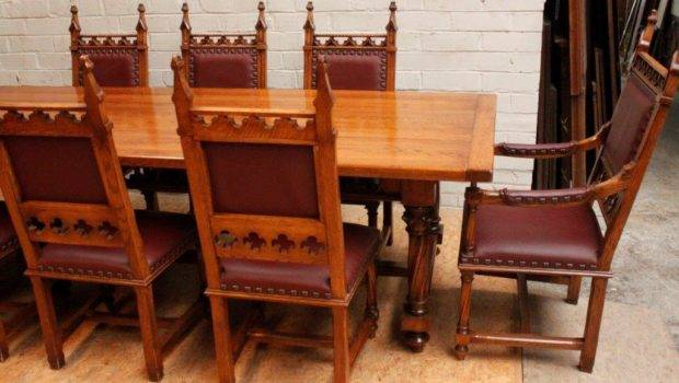 Oak Dining Set French Gothic Room Big Table Chairs