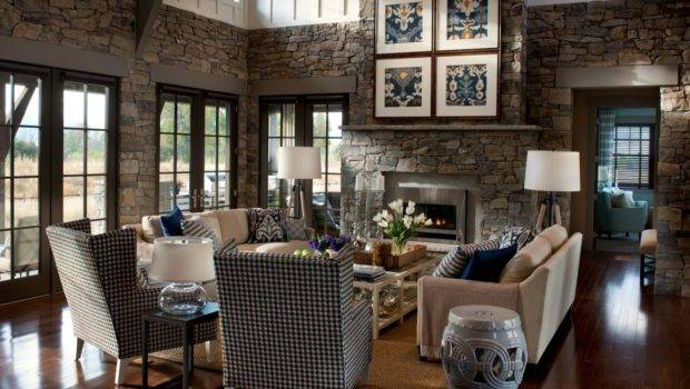 Old Stone Structured Great Room Fireplace Hgtv
