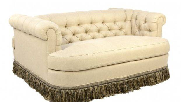 One Kind Creme Double Sided Tufted Social Sofa Lot