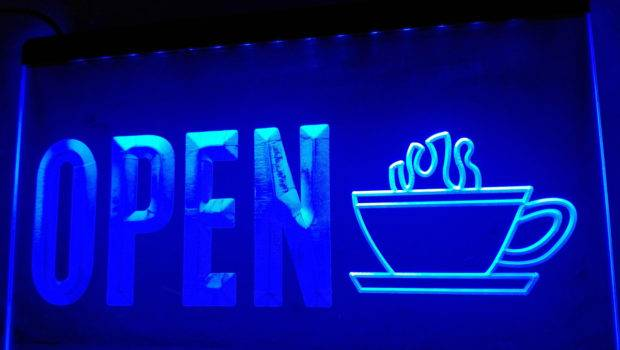 Open Coffee Cup Display Led Neon Light Sign Home