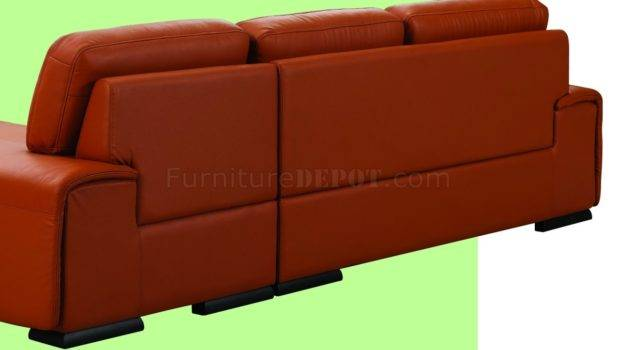 Orange Leather Upholstery Stylish Sectional Sofa Bhss Velop