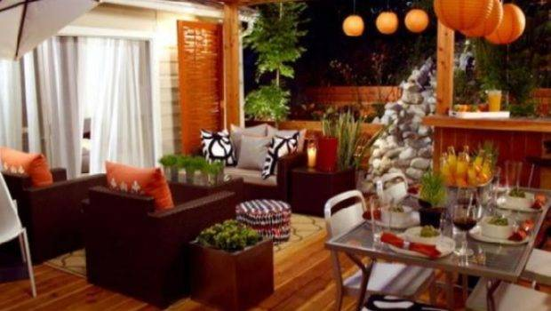 Orange Red Green Living Room Tropical