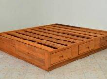 Orange Wood Bed Without Headboard Feat Shelves Combine Underneath