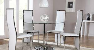 Orbit Round Glass Chrome Dining Room Table Chairs Set Celeste