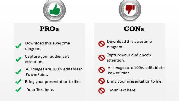 Our Pros Cons Powerpoint Template Slide Paint